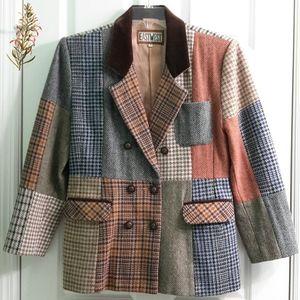 Vtg Patchwork Wool Blazer Varied Colors & Patterns